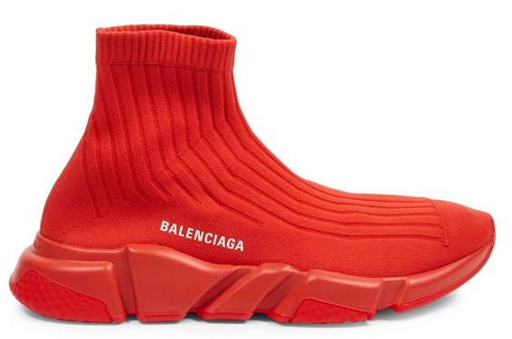 Balenciaga Speed Trainer Rib-Knit Rouge