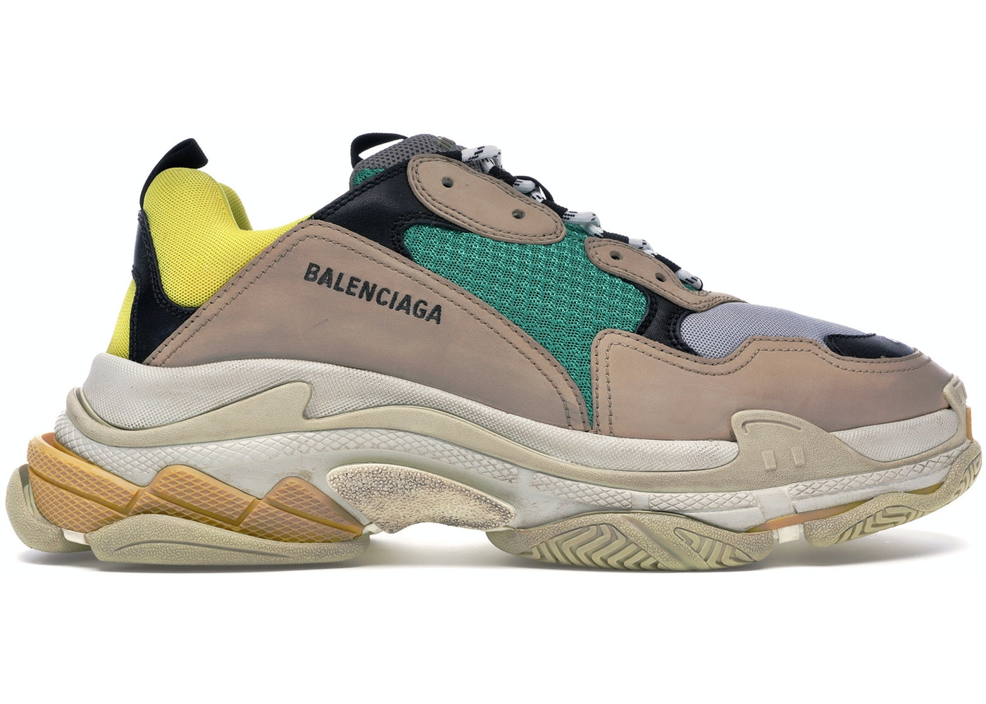 517ce2467d81d Balenciaga Triple S Beige Green Yellow (2018 Reissue) - Sneakers