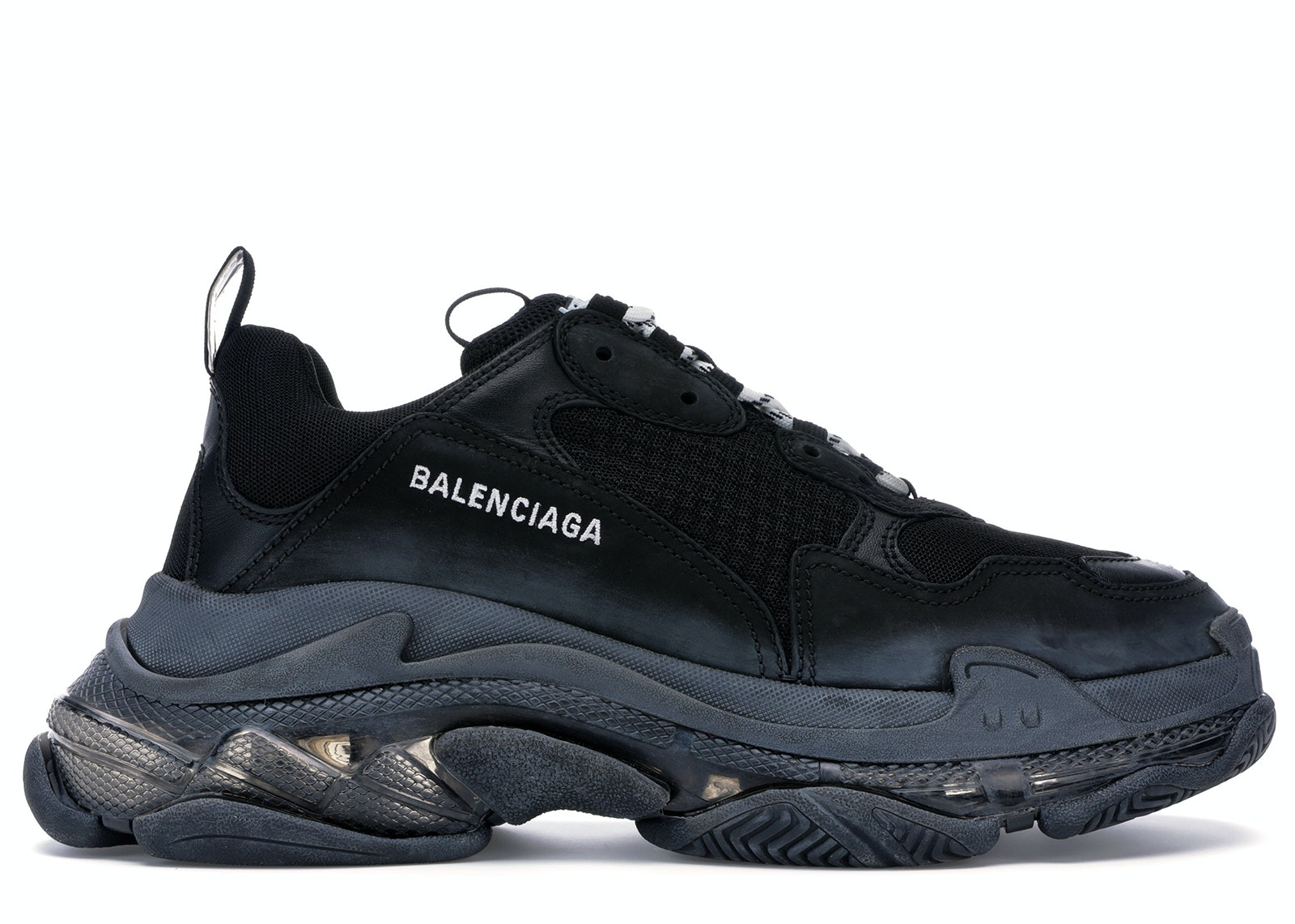 Balenciaga Black And Burgundy Triple S Trainers Lyst