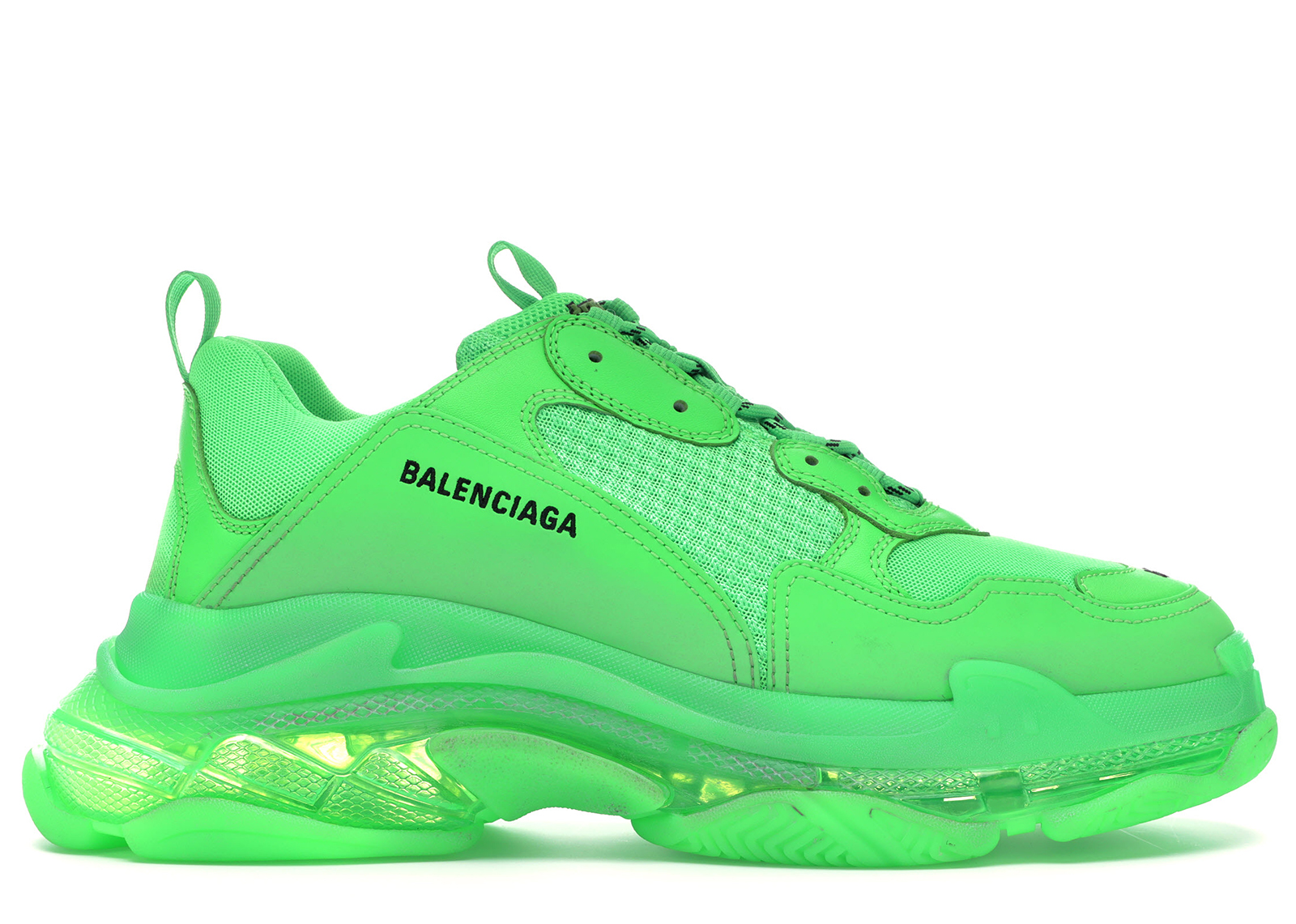 Balenciaga Men's Triple S Mesh & Leather Clear-Sole Sneakers In Chartreuse