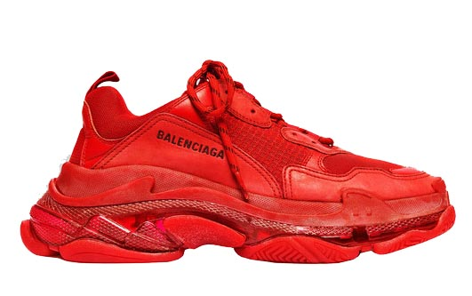 Balenciaga Men's Triple S Mesh & Leather Sneakers, Black In 6500 Red
