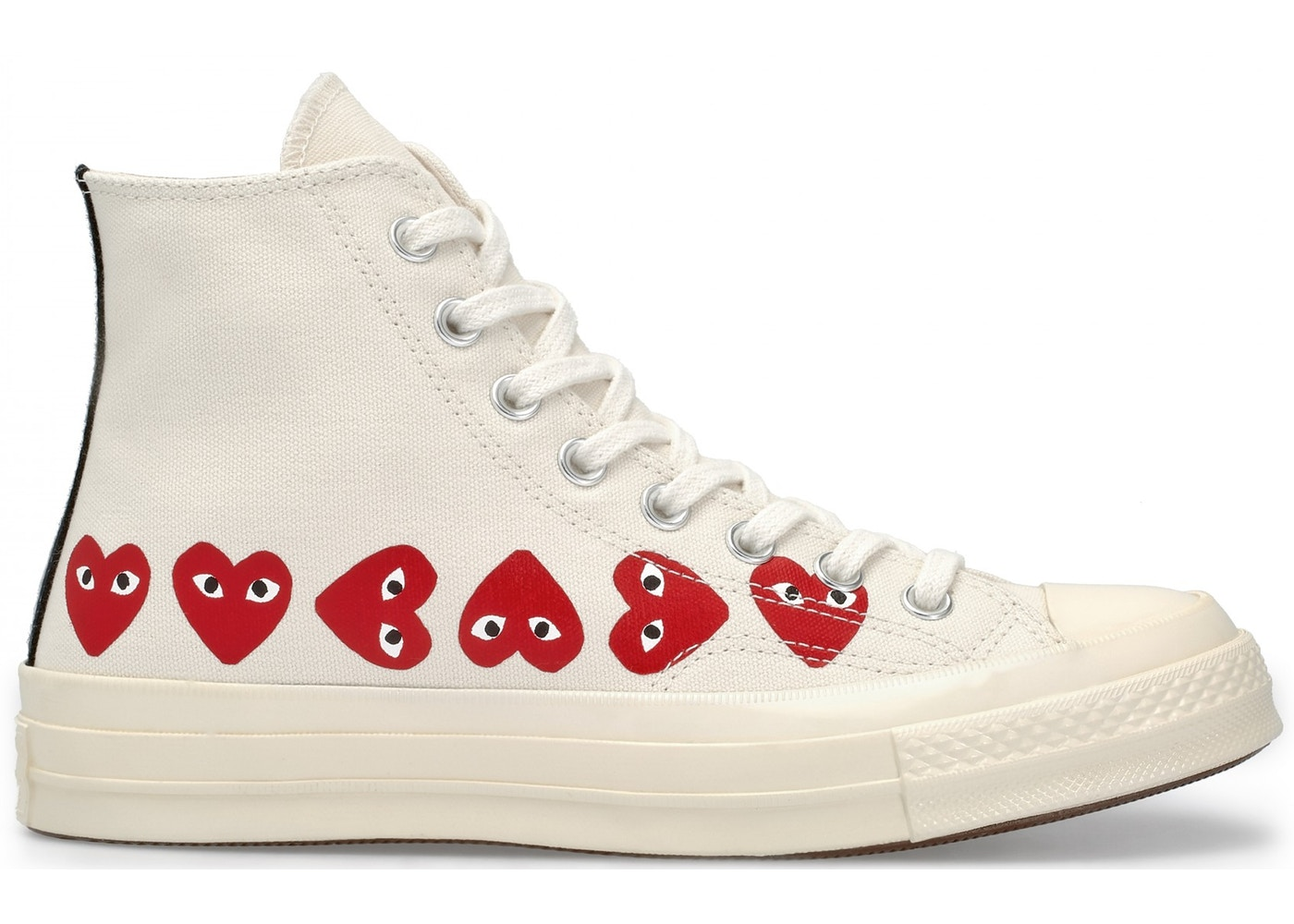 07902fcae6 Converse Chuck Taylor All-Star 70s Hi Comme des Garcons Play Multi-Heart  White - 162972C