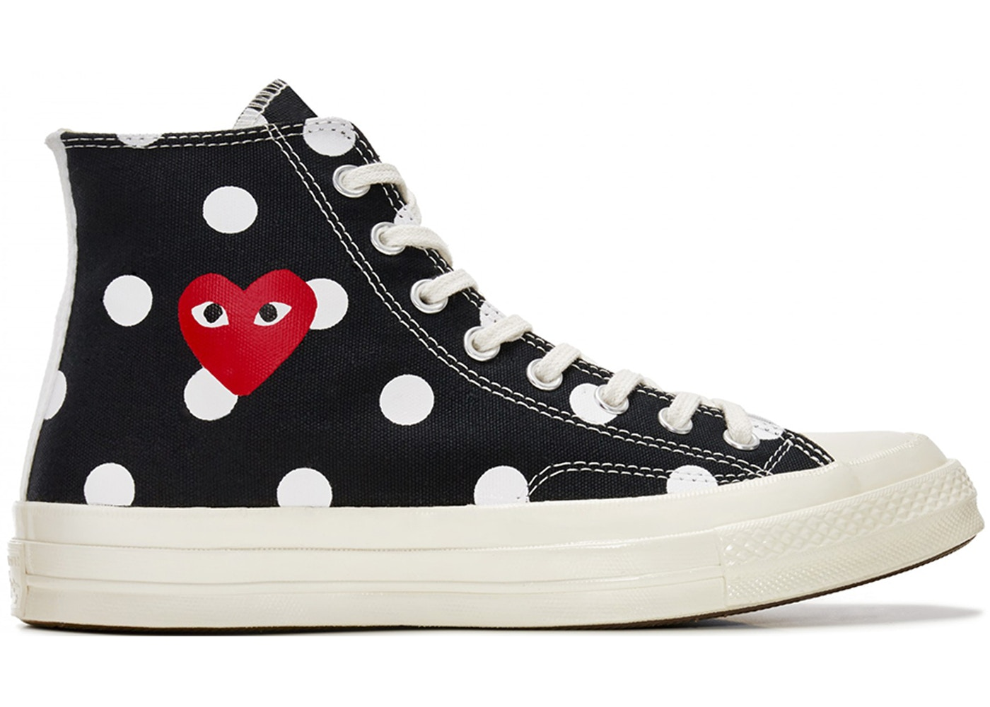 Converse Chuck Taylor All Star 70s Hi Comme des Garcons PLAY Polka Dot Black