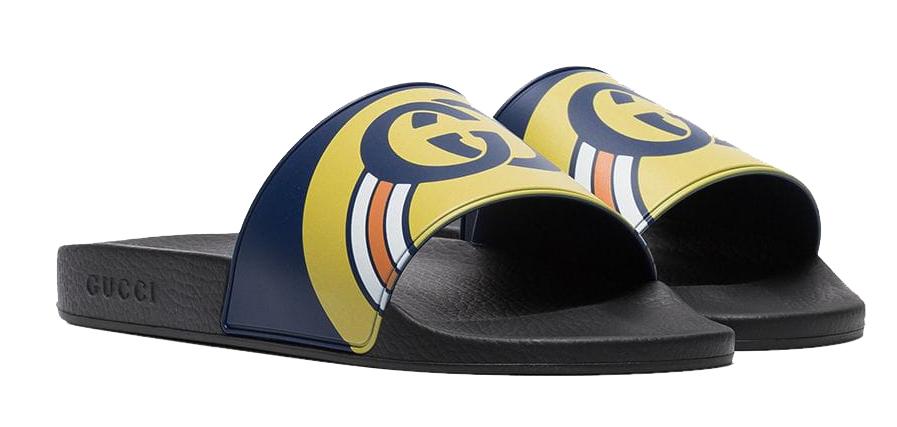 c26b7ef54 Gucci Persuit Slides Navy Black In Black/Blue/Yellow | ModeSens
