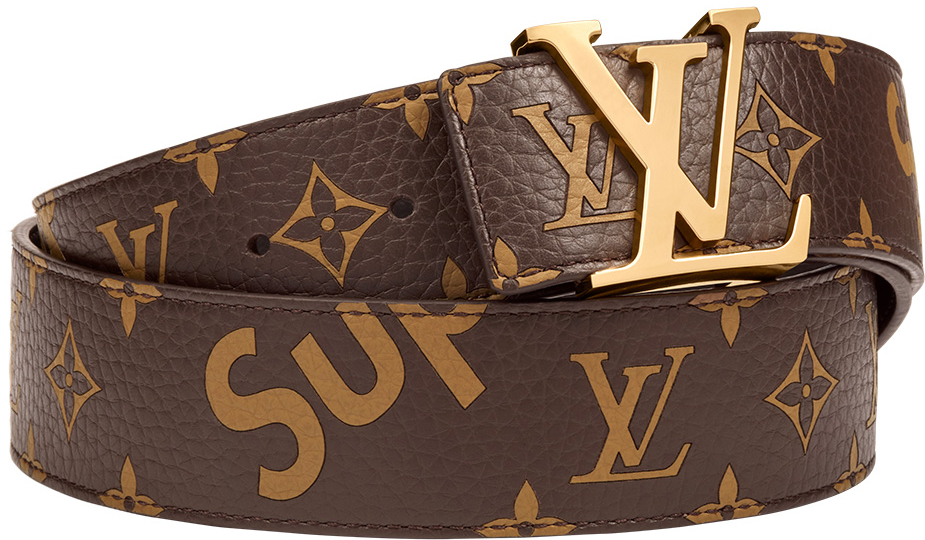 Louis Vuitton x Supreme Initiales Belt 40 MM Monogram Brown Gold