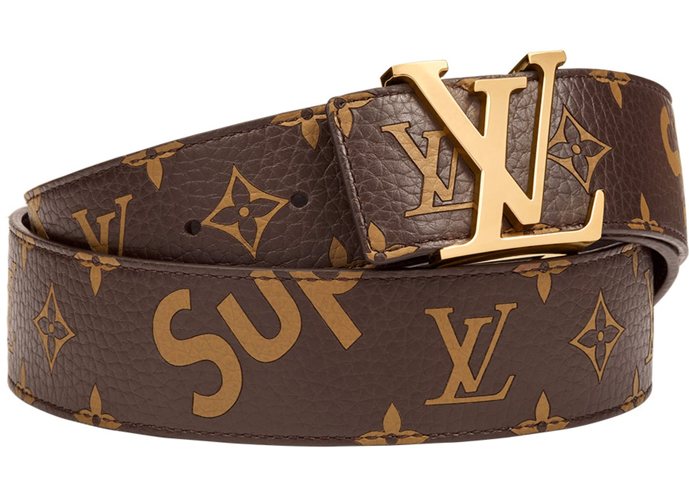 louis vuitton x supreme initiales belt 40 mm monogram brown gold. Black Bedroom Furniture Sets. Home Design Ideas