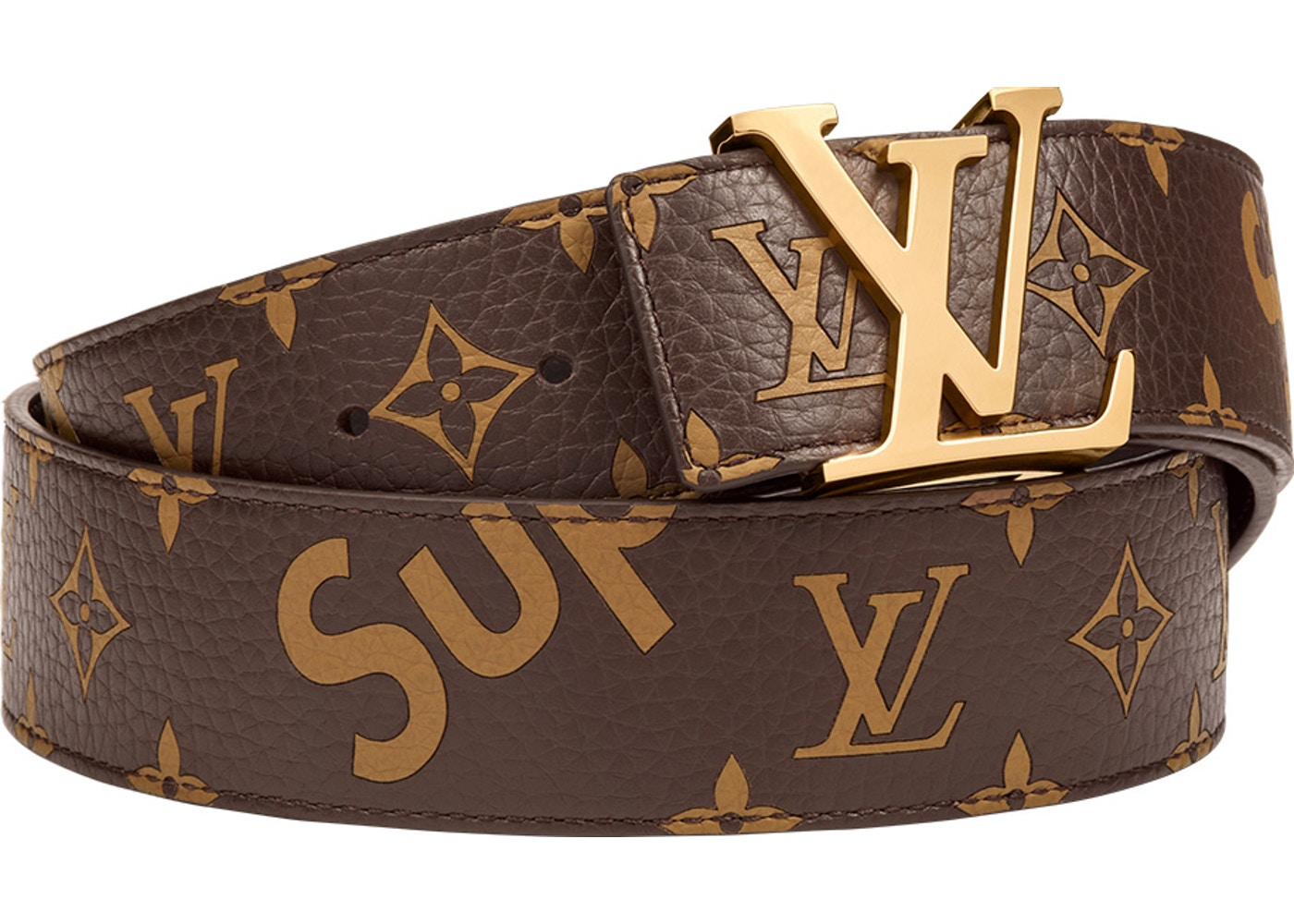 90119162e194 Louis Vuitton x Supreme Initiales Belt 40 MM Monogram Brown Gold