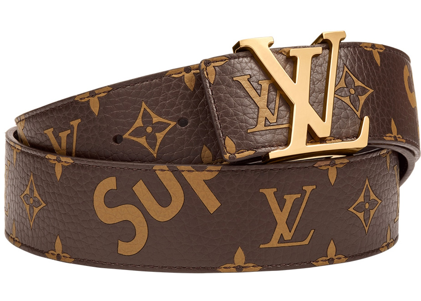 858fddf83ec Louis Vuitton x Supreme Initiales Belt 40 MM Monogram Brown Gold