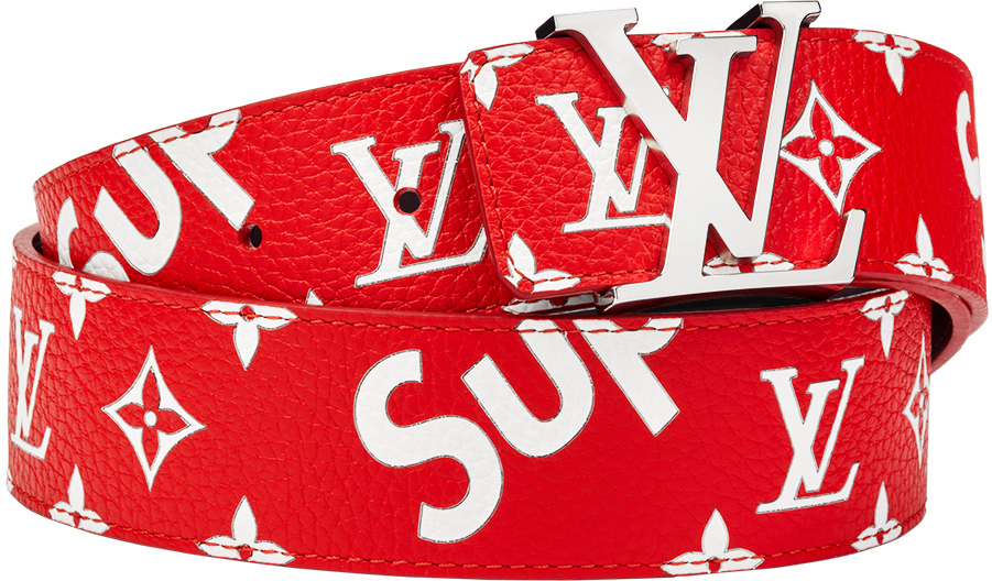 Louis Vuitton x Supreme Initiales Belt 40 MM Monogram Red