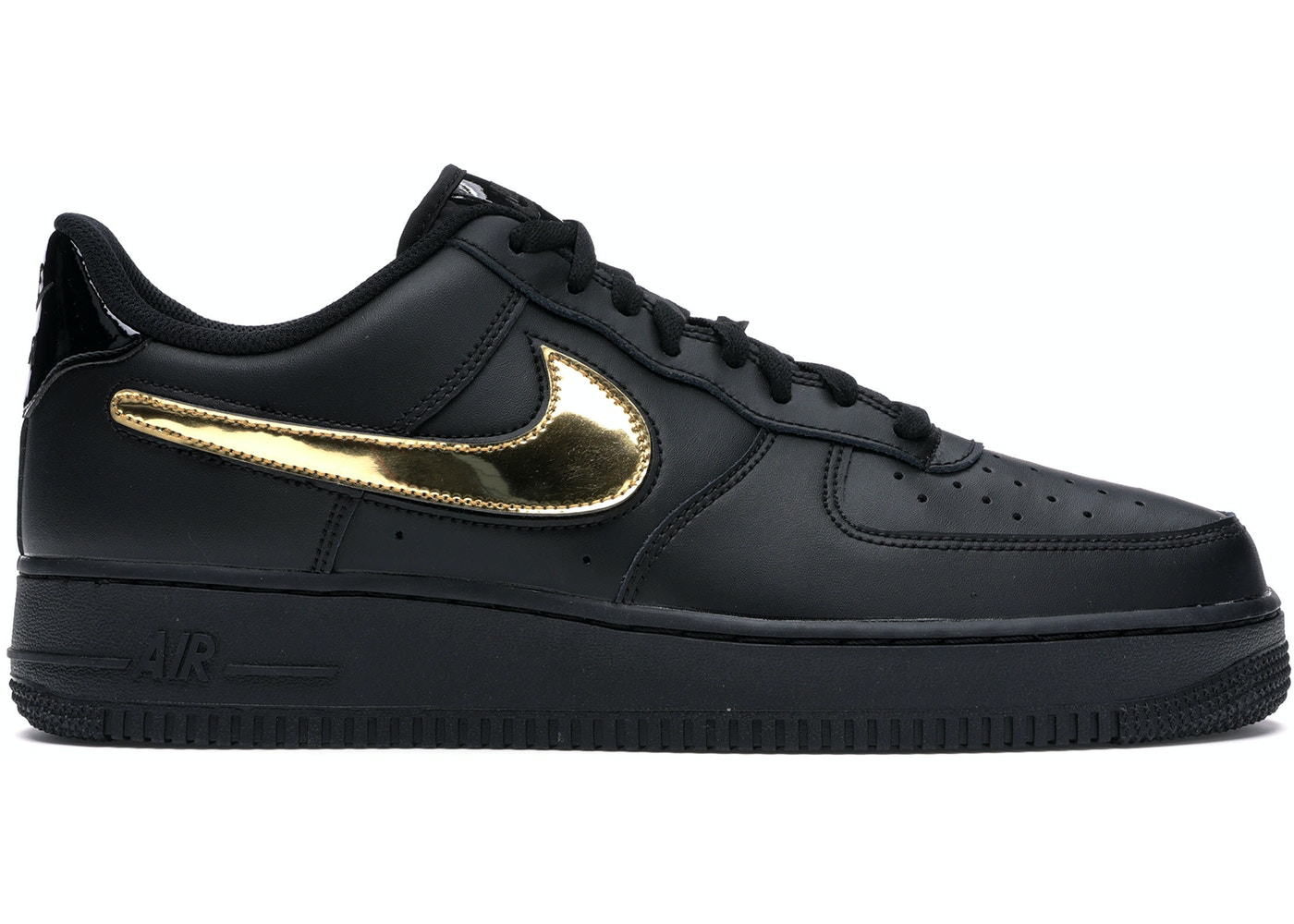 Nike Air Force 1 Black Metallic Gold Removable Swoosh Pack