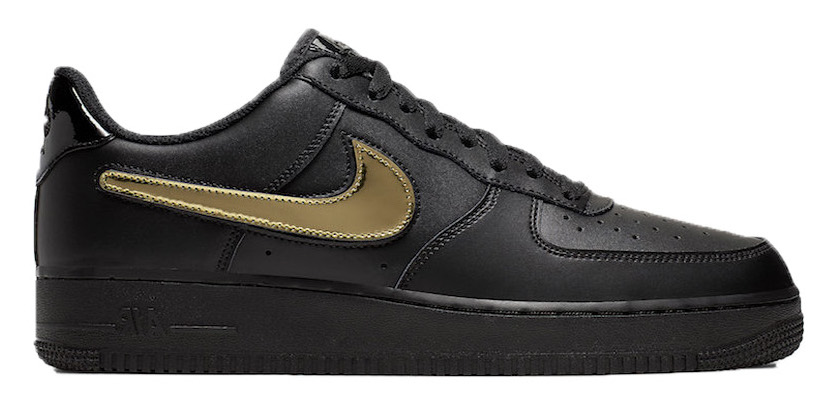Air Force 1 Black Metallic Gold Removable Swoosh Pack