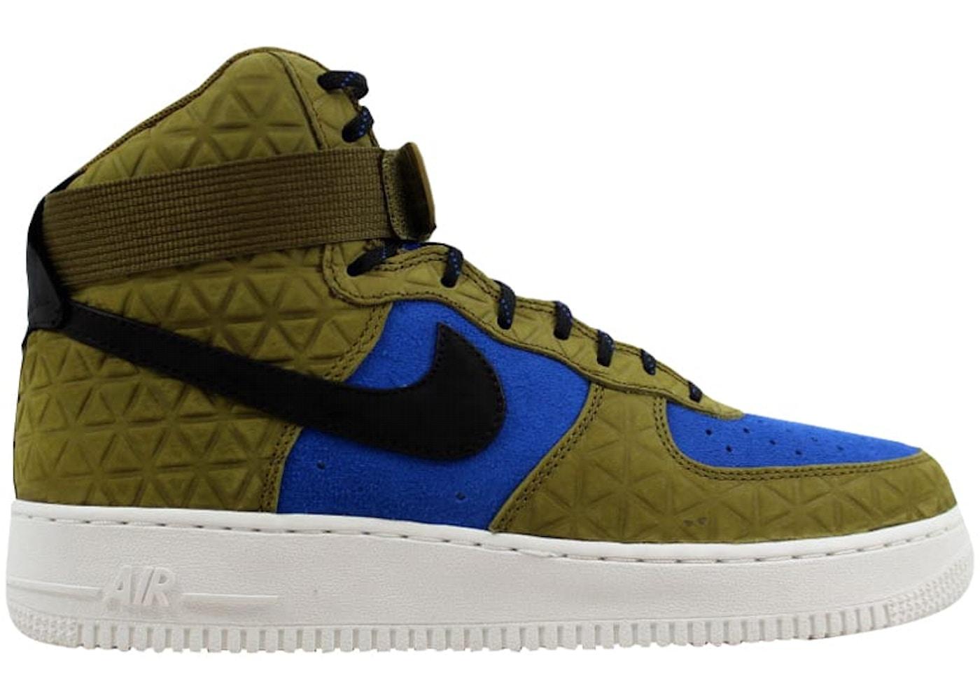 Nike Air Force 1 Hi Premium Suede Olive Flak Black Midnight Turquoise W 845065 300