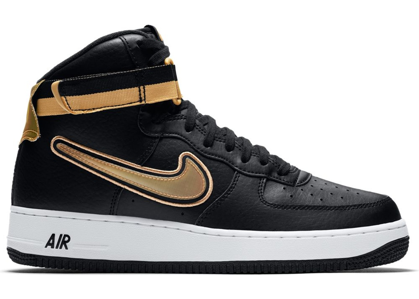 Nike Air Force 1 High Nba Black Metallic Gold Av3938 001