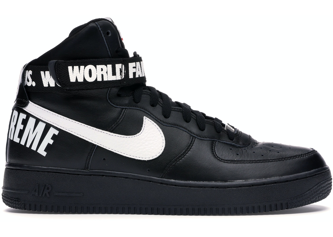 sale retailer ee9b0 38952 Air Force 1 High Supreme World Famous Black - 698696-010