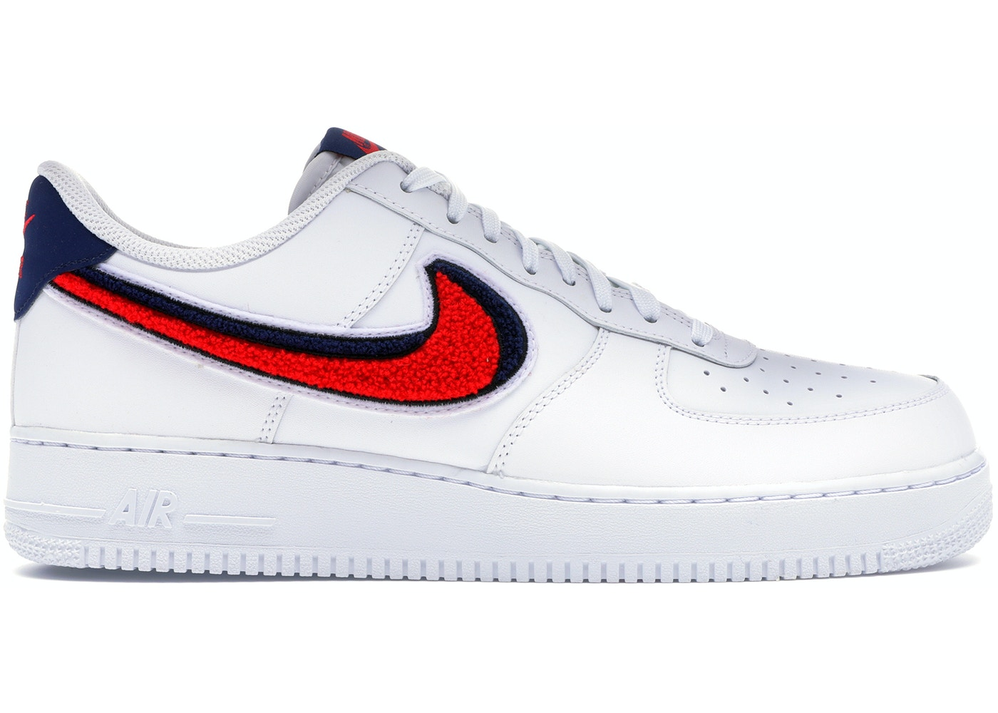 6b3bd8caf07b Air Force 1 Low 3D Chenille Swoosh White Red Blue - 823511-106