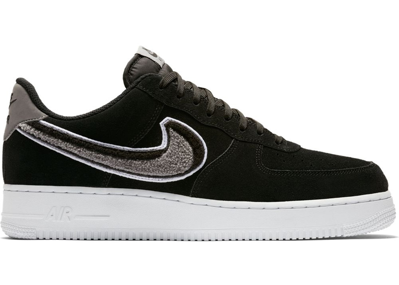 first rate 5d6a8 fcdb2 Air Force 1 Low 3D Chenille Swoosh Black Cool Grey