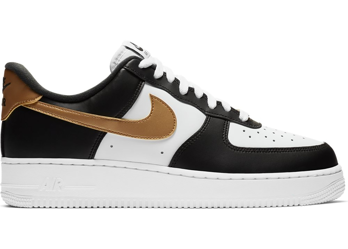 Nike Air Force 1 Low Black White Metallic Gold Cz9189 001