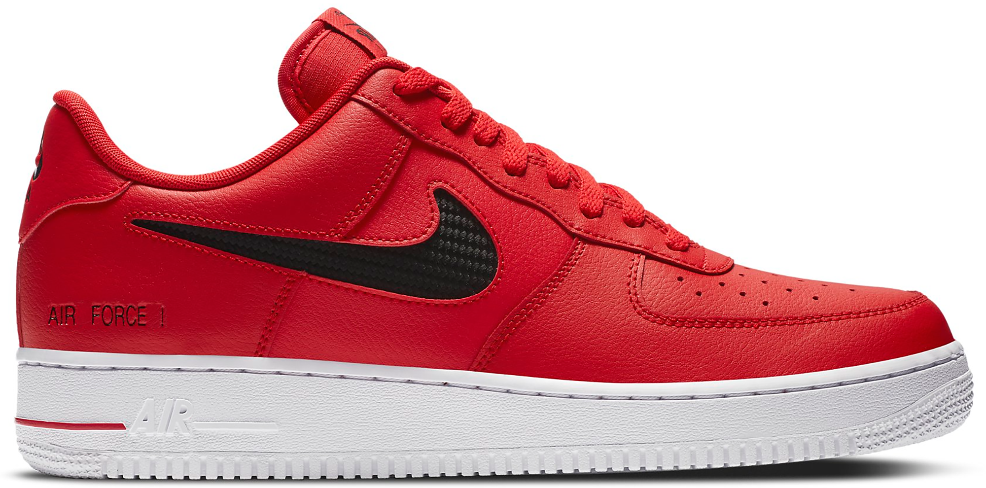 Nike Air Force 1 Low Cut Out Swoosh Red