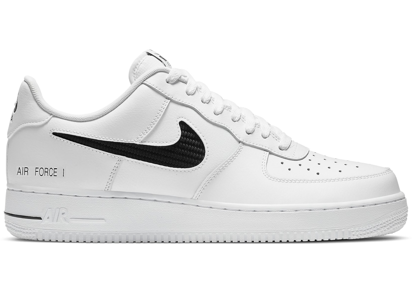 Nike Air Force 1 Low Cut Out Swoosh White Black