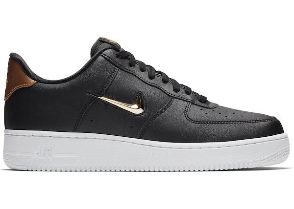 Nike Air Force One Low Black Black Metallic Gold