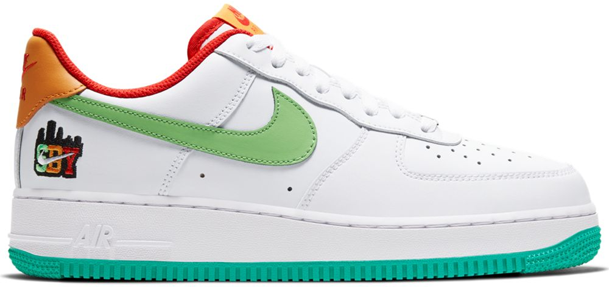 Pre-owned Air Force 1 Low Shibuya White In White/green-orange-teal