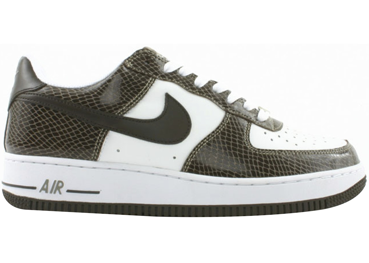 Nike Air Force 1 Low Snakeskin Baroque Brown Sneakers (White/Baroque Brown-Khaki)