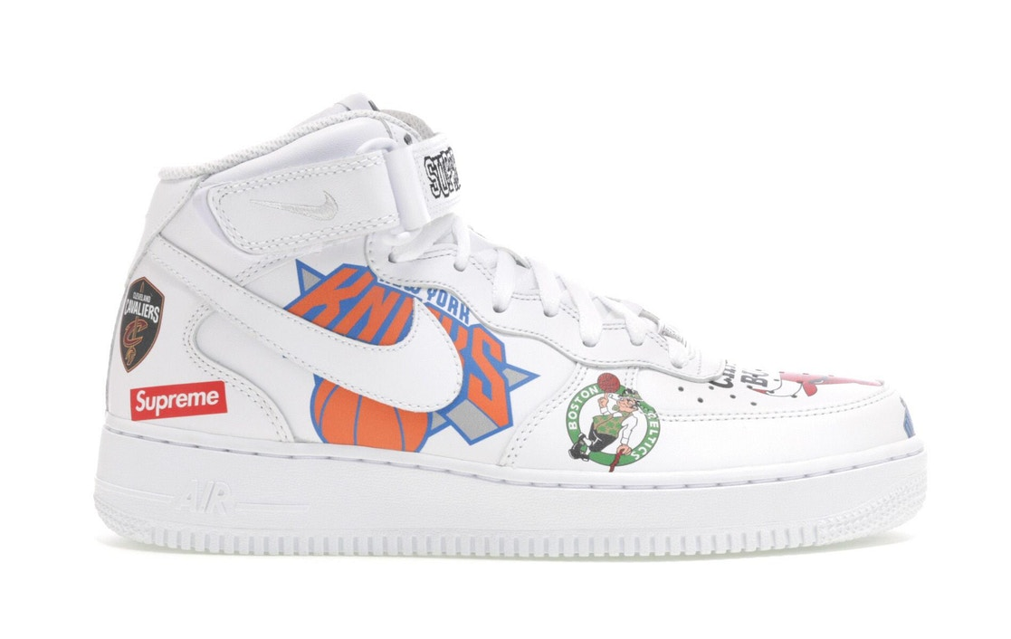 Details about Nike Air Force 1 Mid '07 Supreme NBA White Size 12 AQ8017 100