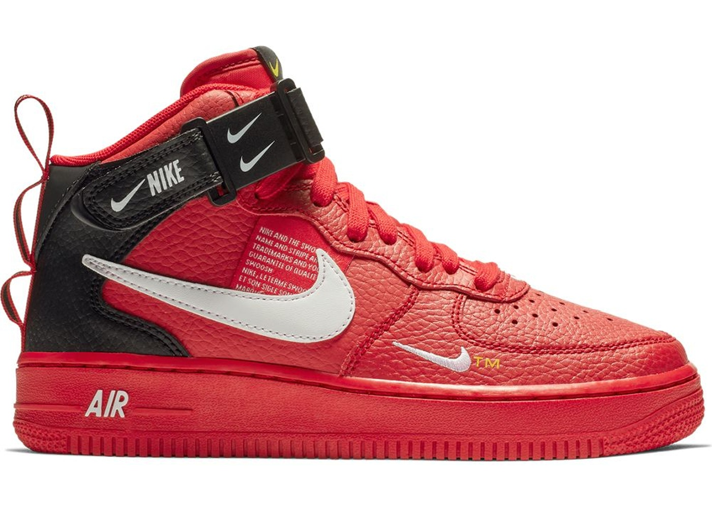 WomenMen Nike Air Force 1 Mid Utility Red Authentic