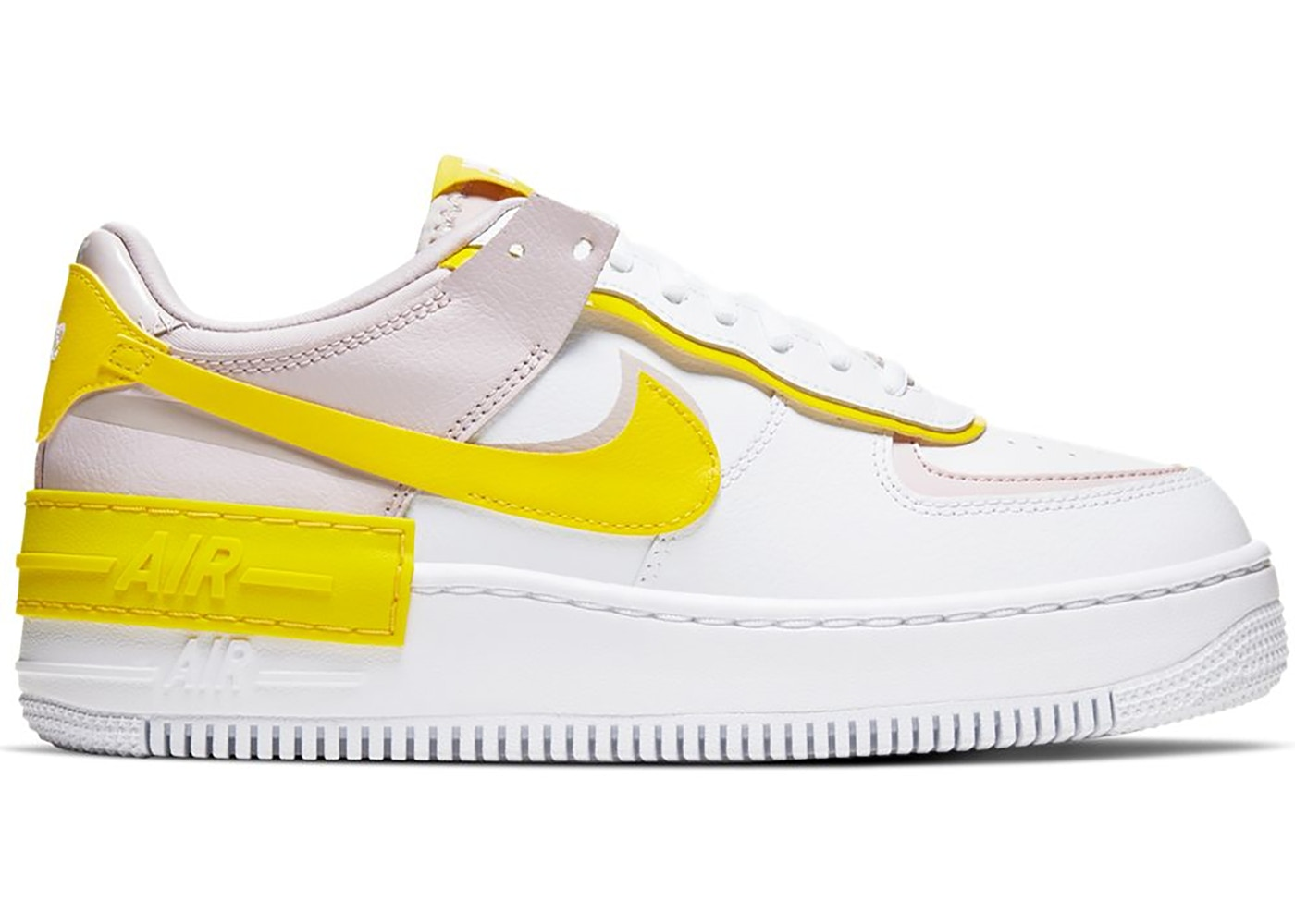 Nike Air Force 1 Shadow White Barely Rose Speed Yellow W