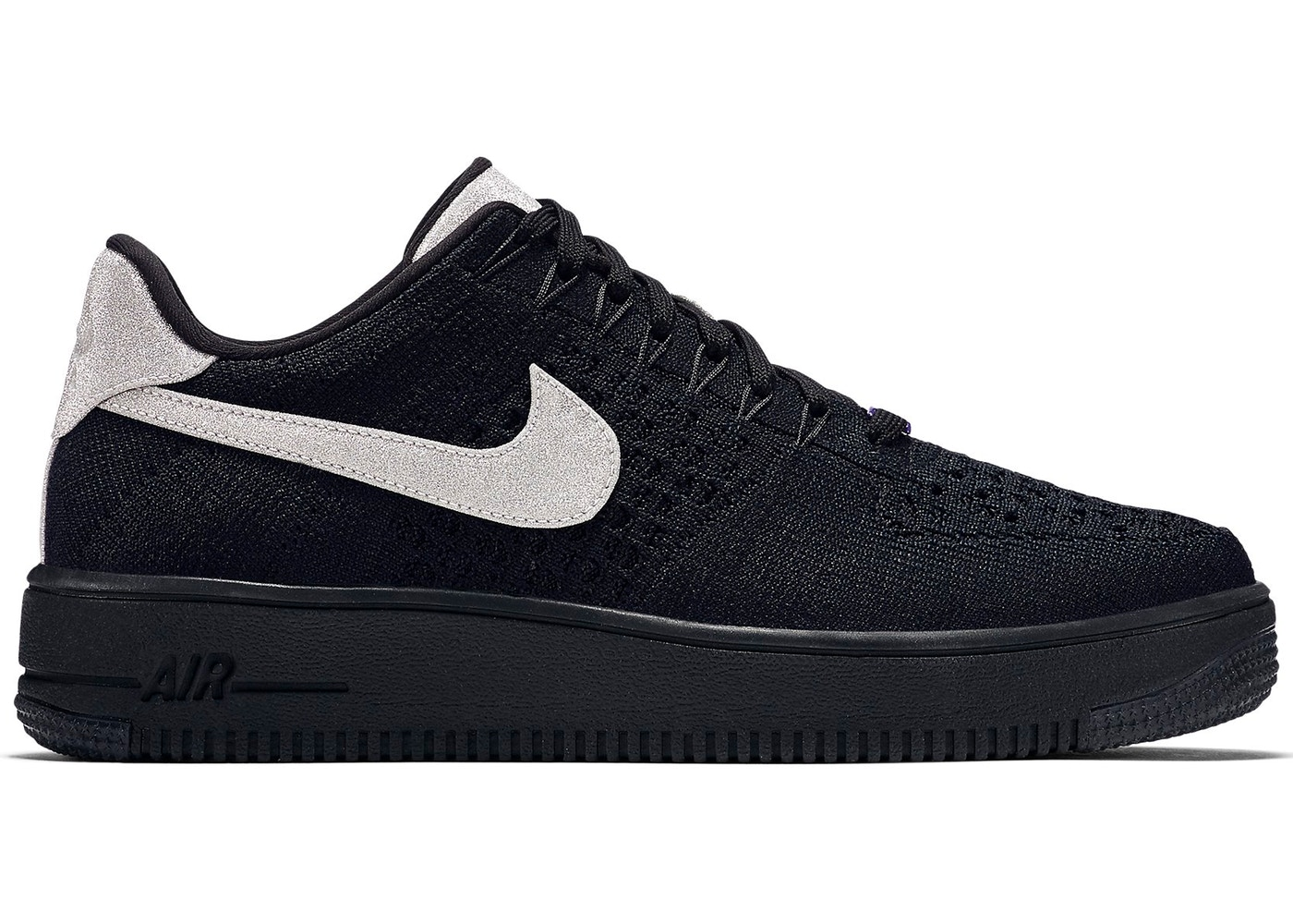 new product 48fa2 af727 Air Force 1 Flyknit Low Black Metallic Silver