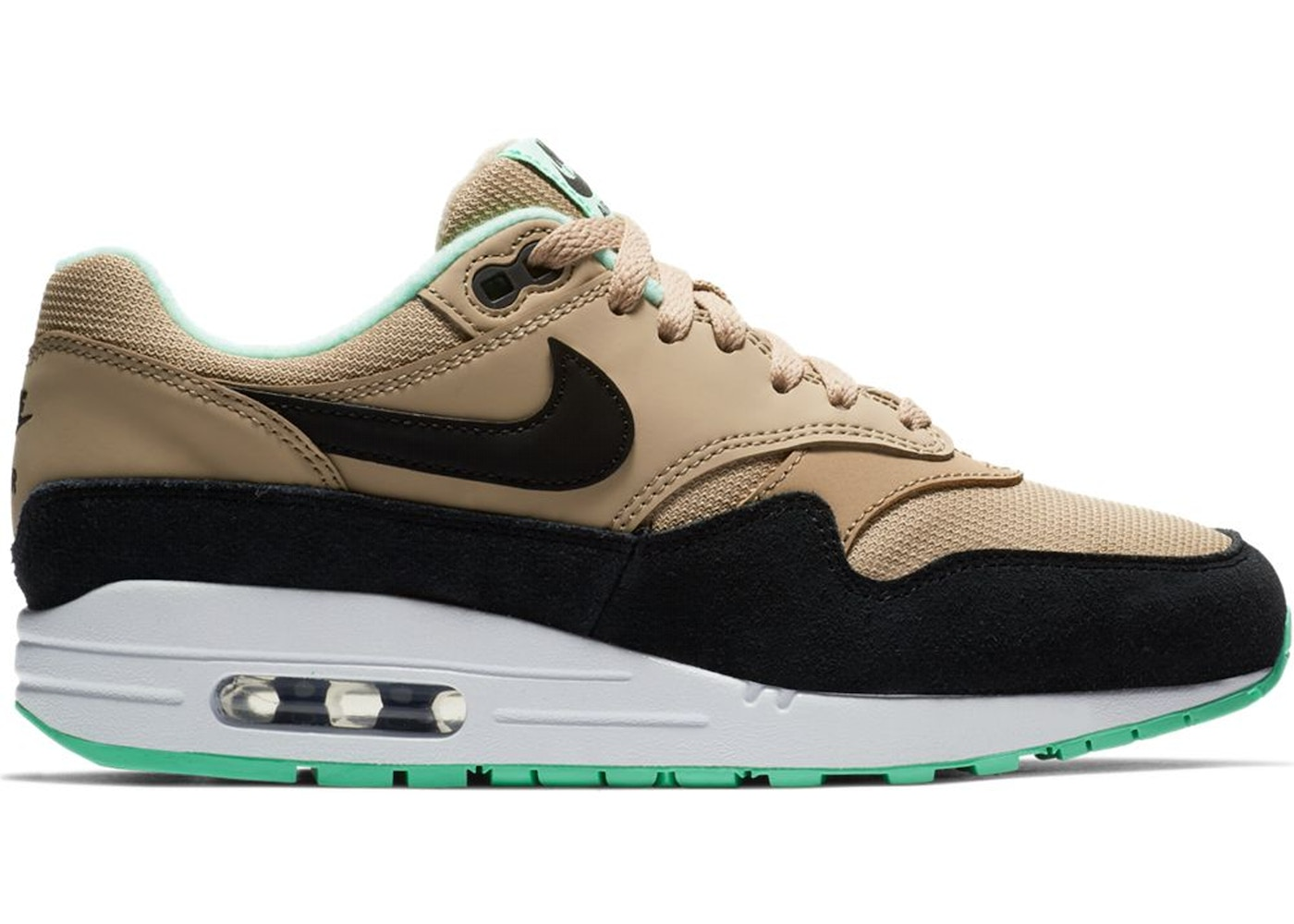 new styles a7837 a3750 Air Max 1 Desert Black Green Glow (W)