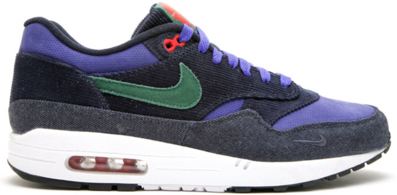 Nike Air Max 1 Patta 5th Anniv Denim Sneakers (Drk Obsdn/Tm Grn-Cncrd-Sprt Rd)