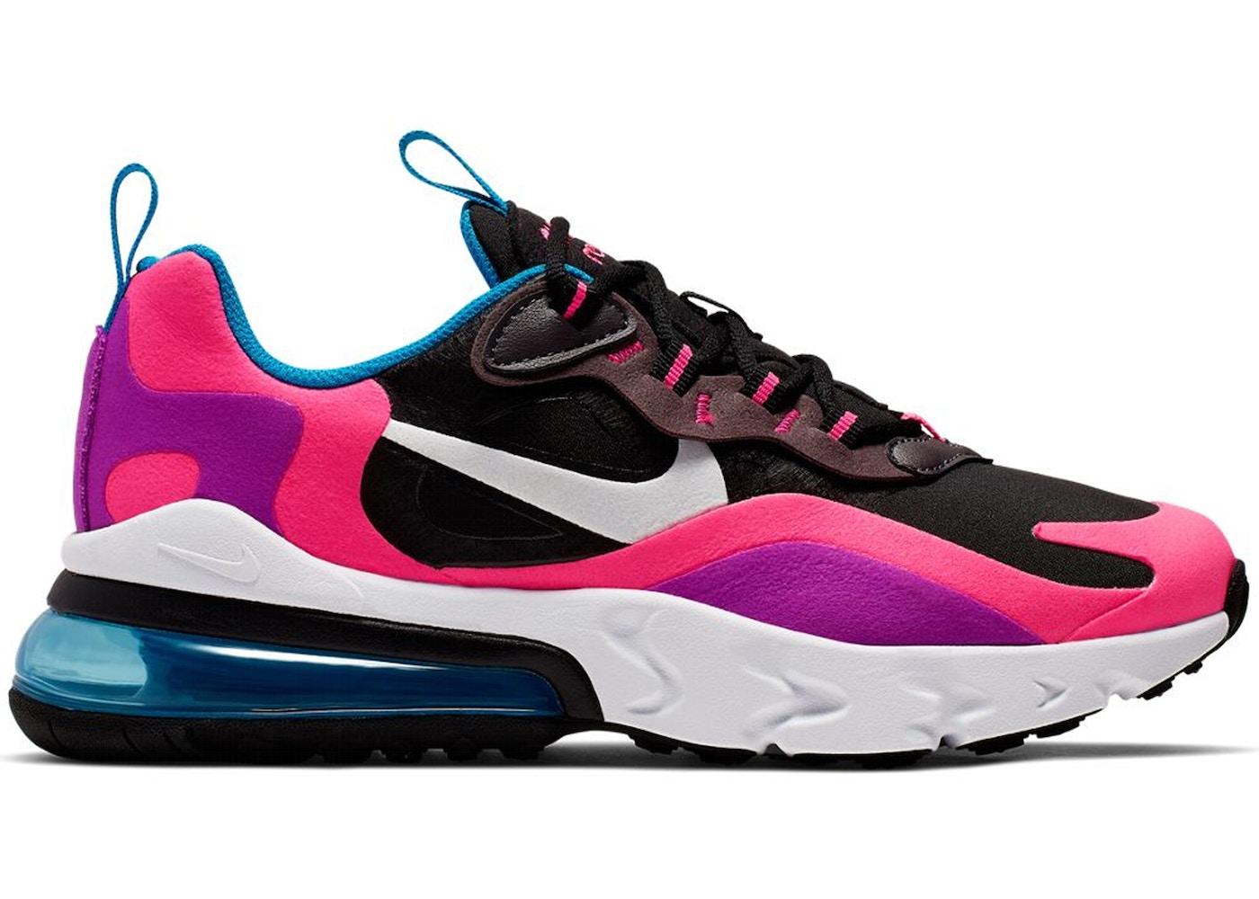 Nike Air Max 270 React Black Hyper Pink Vivid Purple Gs Bq0101 001