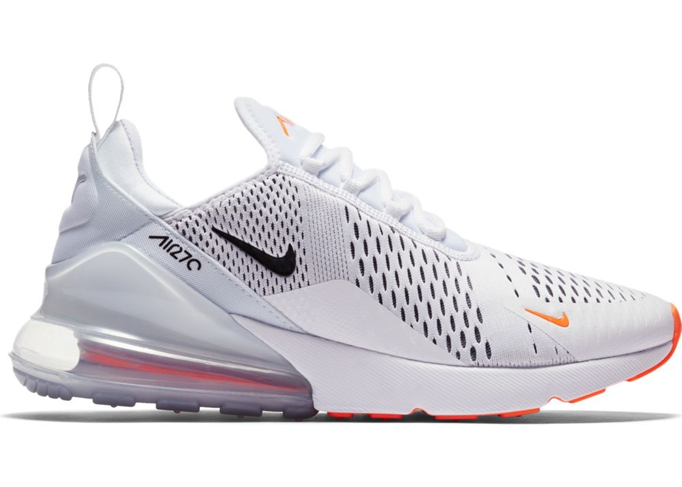 Nike Air Max 270 White Black Total Orange Ah8050 106