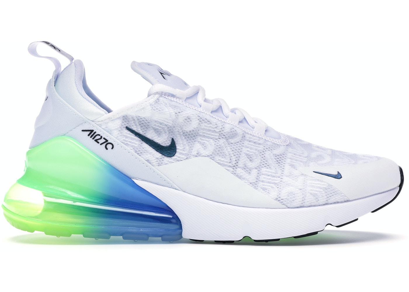 Nike Air Max 270 White Lime Blast Photo Blue Aq9164 100