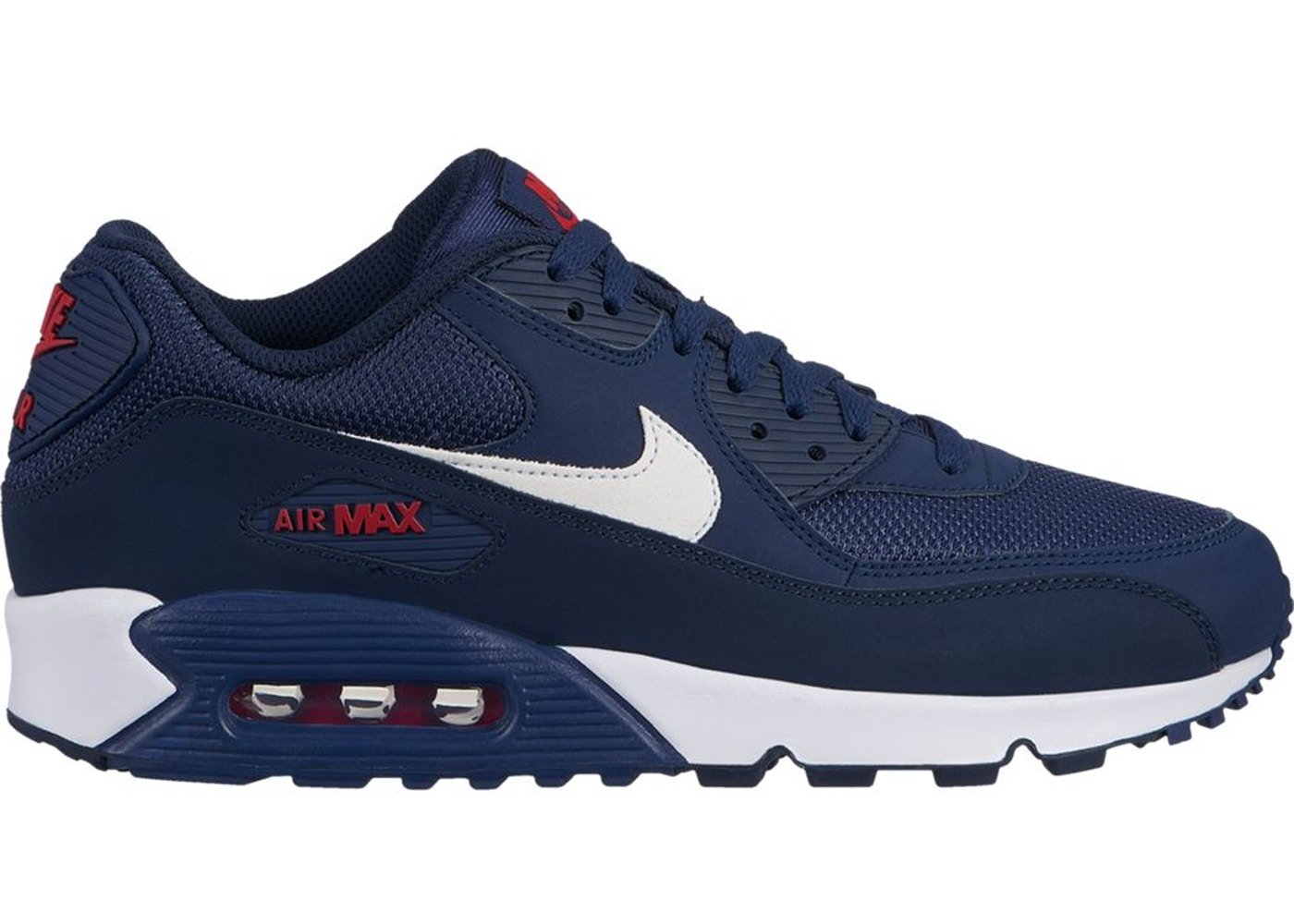 new concept 0773c aedde Air Max 90 Midnight Navy University Red White
