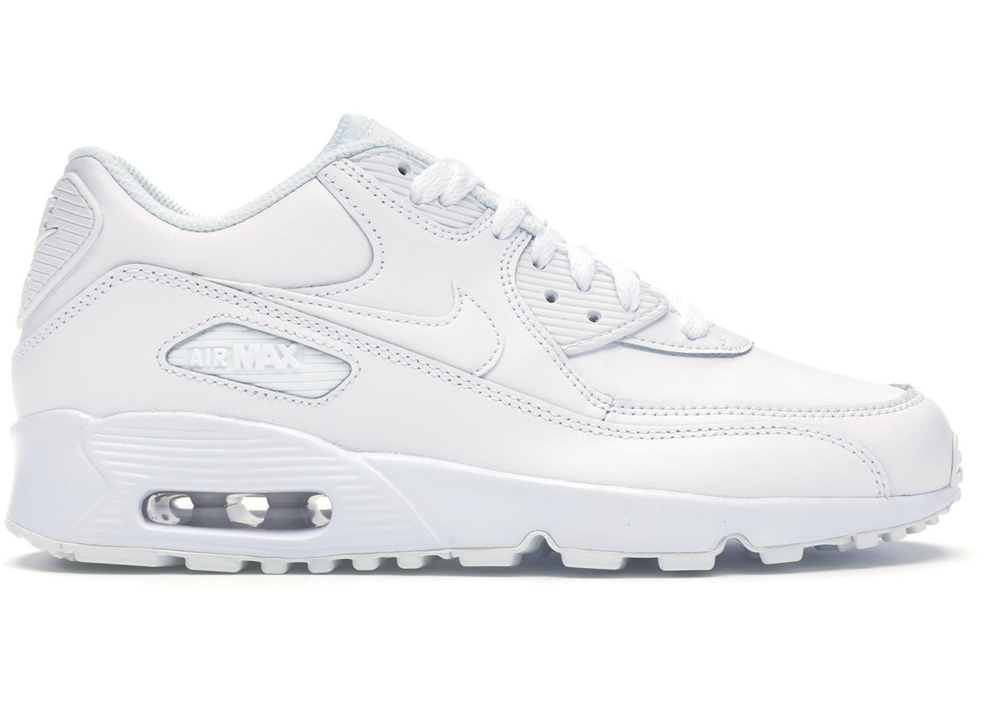 fusión Explicación seno  Nike Air Max 90 White Leather (GS) - 833412-100