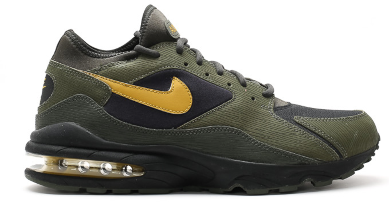 Nike Air Max 93 Size Army Pack Sneakers (Black/Dark Citron)