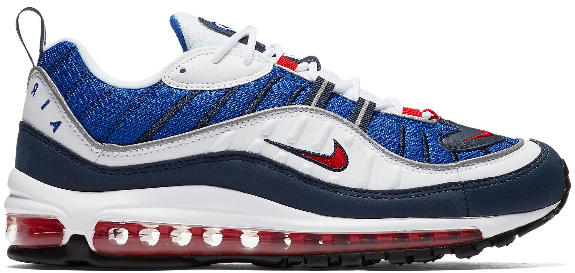 Hot Sale Nike Air Max 98 OG White Black Racer Blue Volt 640744 103 Mens Running Shoes Sneakers 640744 103