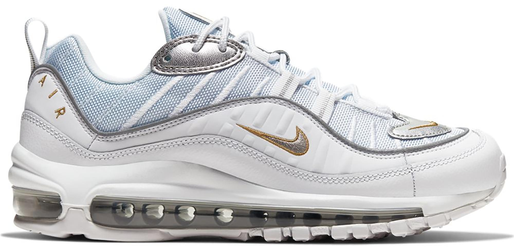 Nike Air Max 98 White Silver Gold (W