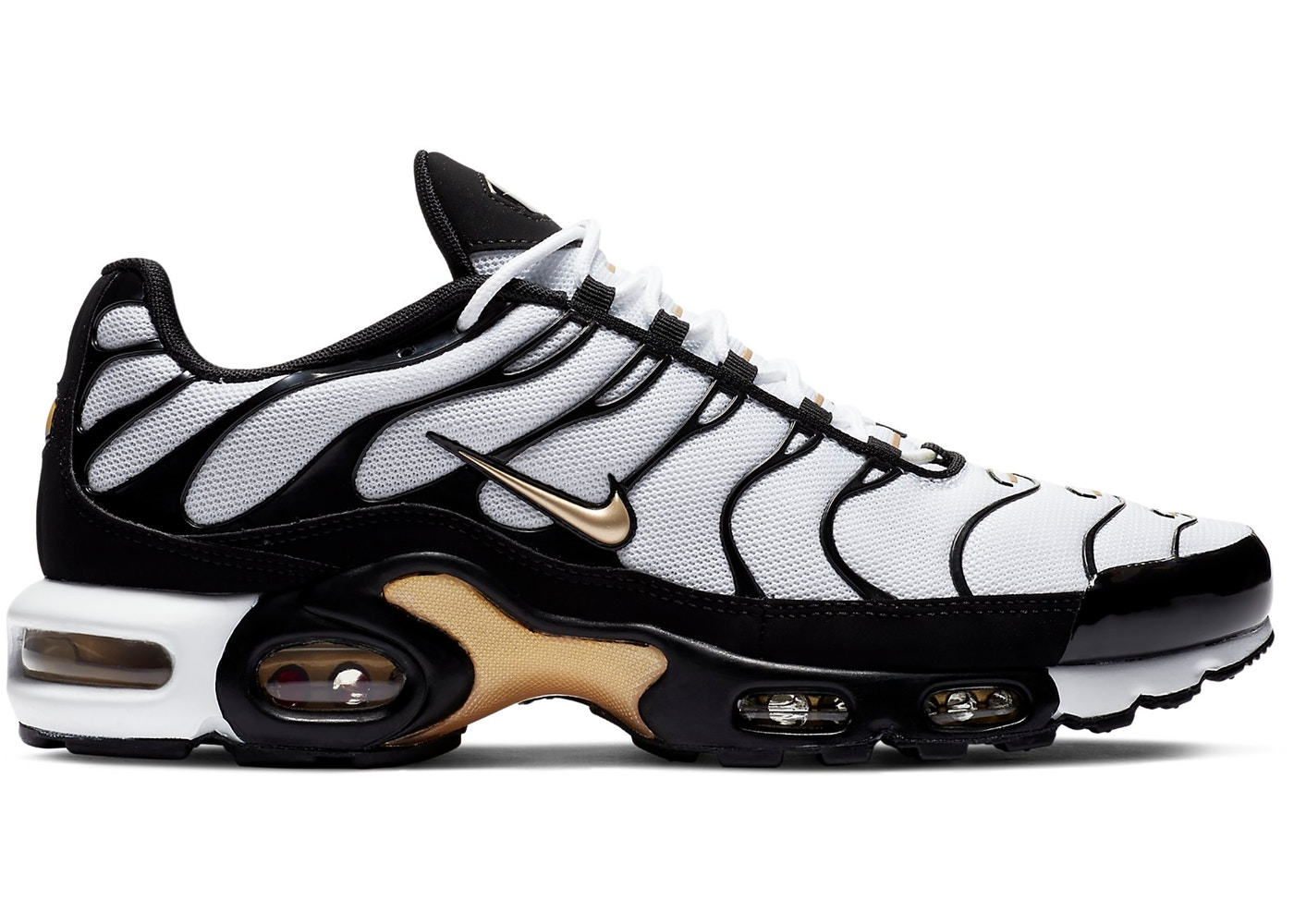 Nike Air Max Plus White Black Metallic Gold
