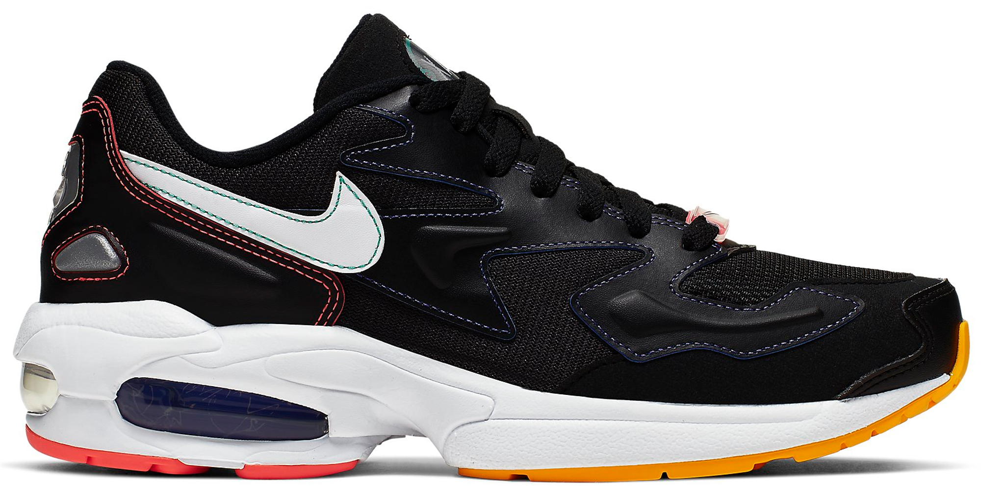 Air Max2 Light Black Contrast Stitching (W) in BlackWhite Psychic Purple University Gold Flash Crimson Kinetic Green
