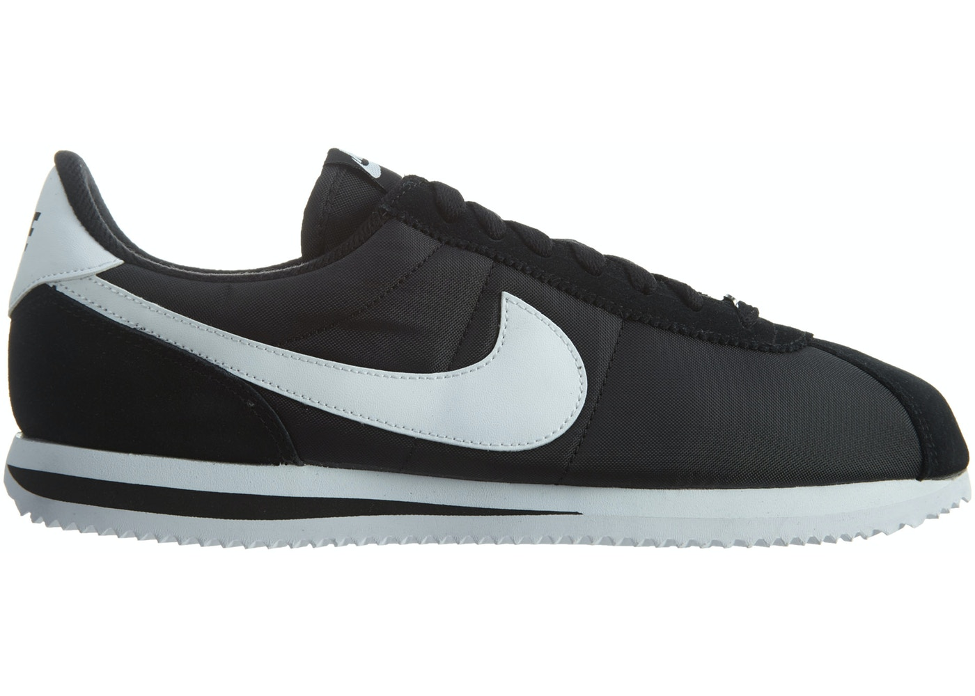 new product a0778 18100 Nike Cortez Basic Nylon Black White-Metallic Silver