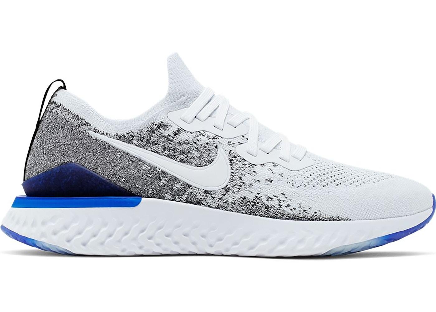 Nike Epic React Flyknit 2 White Black Racer Blue
