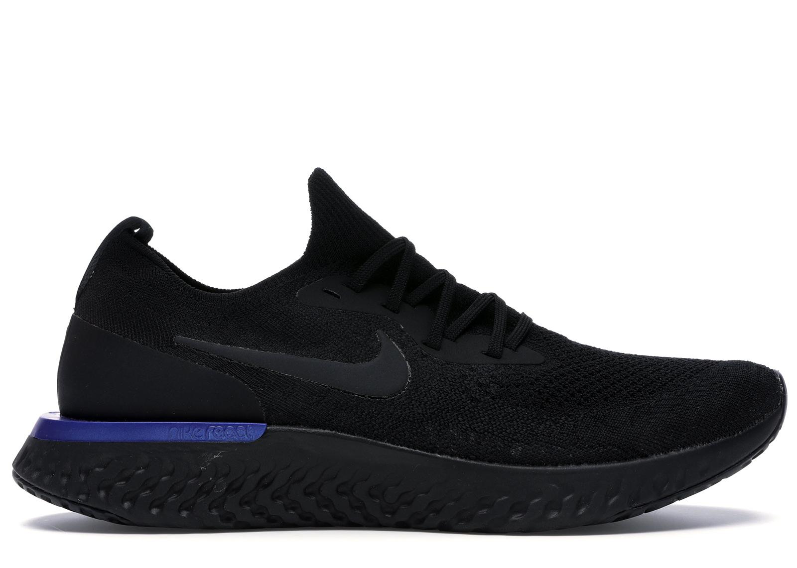 "Nike Epic React Flyknit ""Triple Black"" BlackRacer BlueBlack Running Shoes"