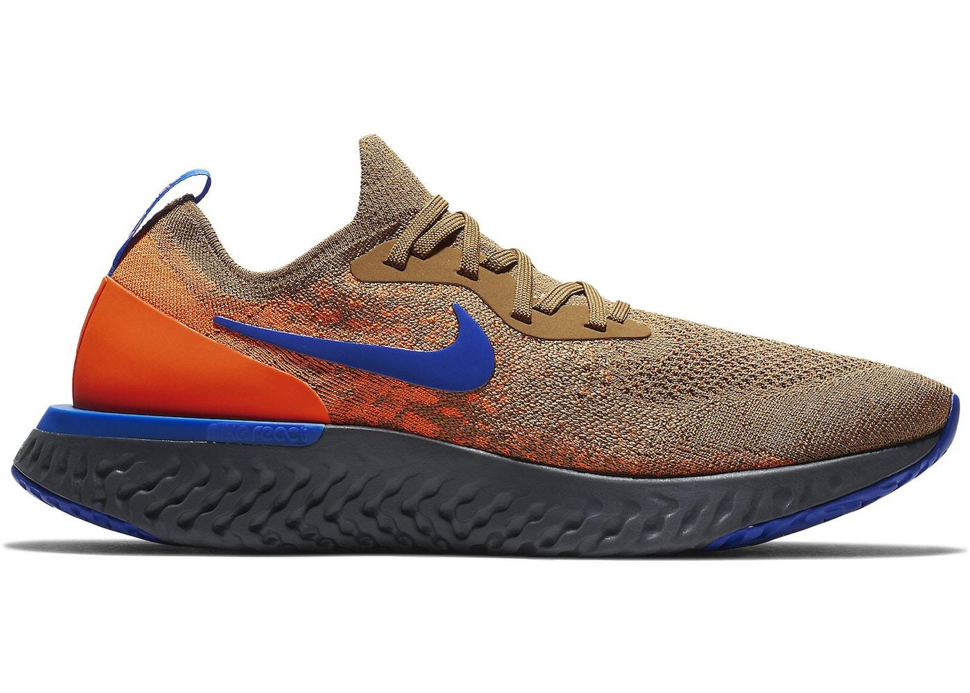 1d87644dd04f8 Nike Epic React Flyknit Golden Beige Racer Blue - AV8068-200