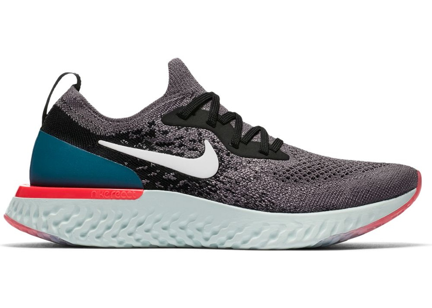 ca0ccf8b69bb Nike Epic React Flyknit Gunsmoke Black Geode Teal (GS) - 943311-010