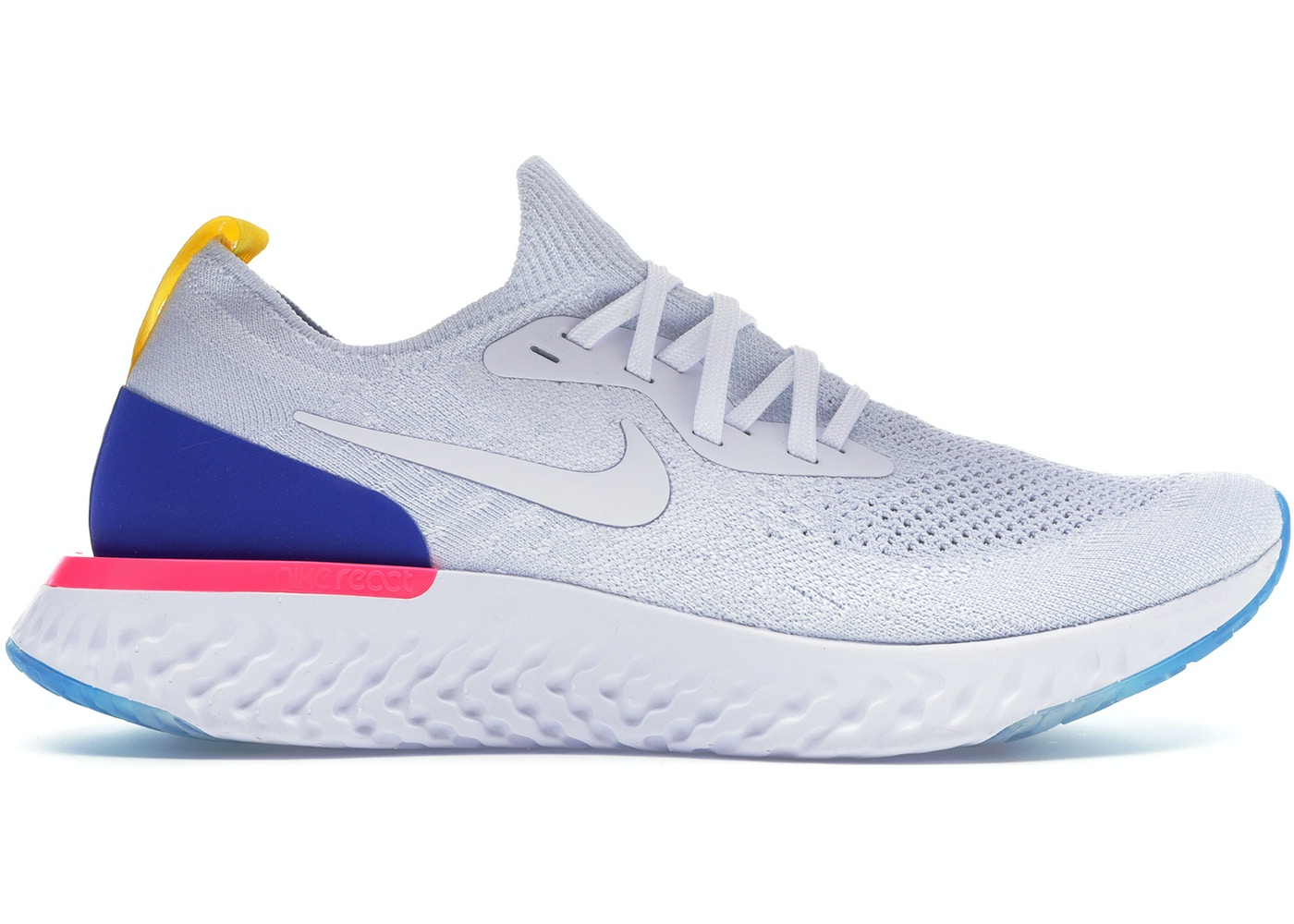 b7ee0730da1dd Nike Epic React Flyknit White Racer Blue Pink Blast