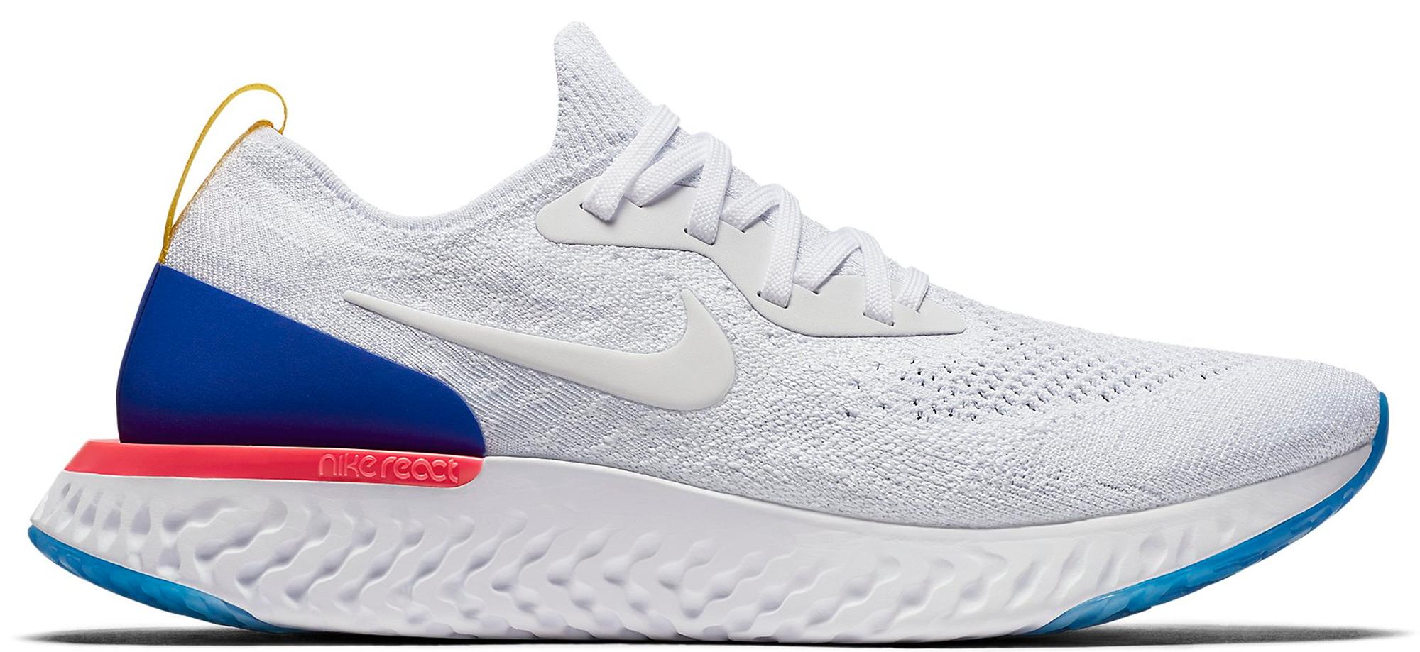 Nike Épique Flyknit Blanc Réagissent / Coureur Bleu / Explosion Rose /  Blanc réduction authentique vente