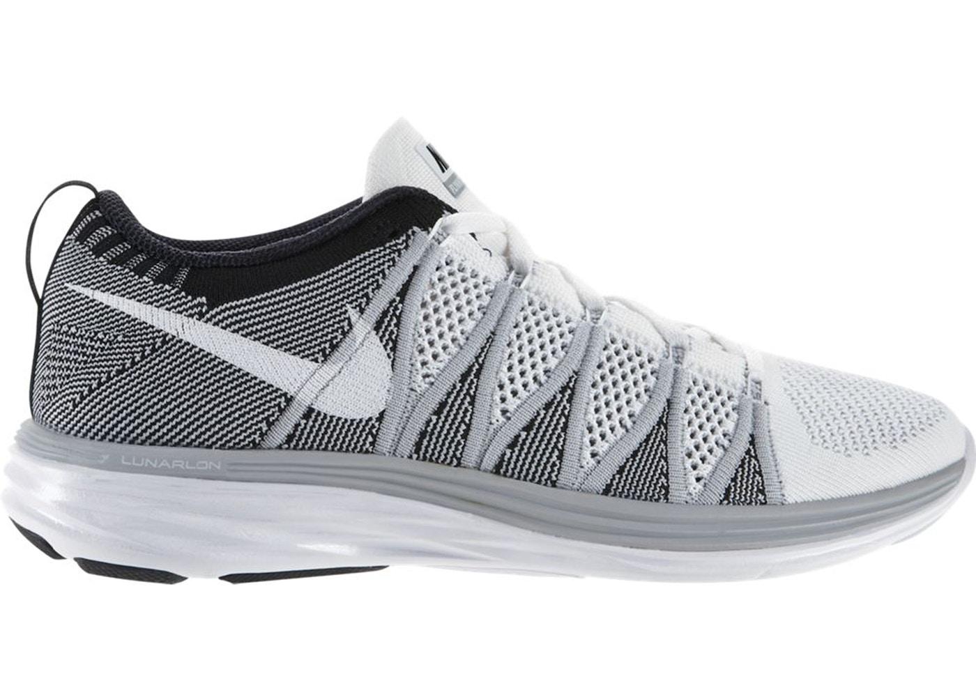 Pera Discriminación violento  Nike Flyknit Lunar 2 White Wolf Grey Black - 620465-100